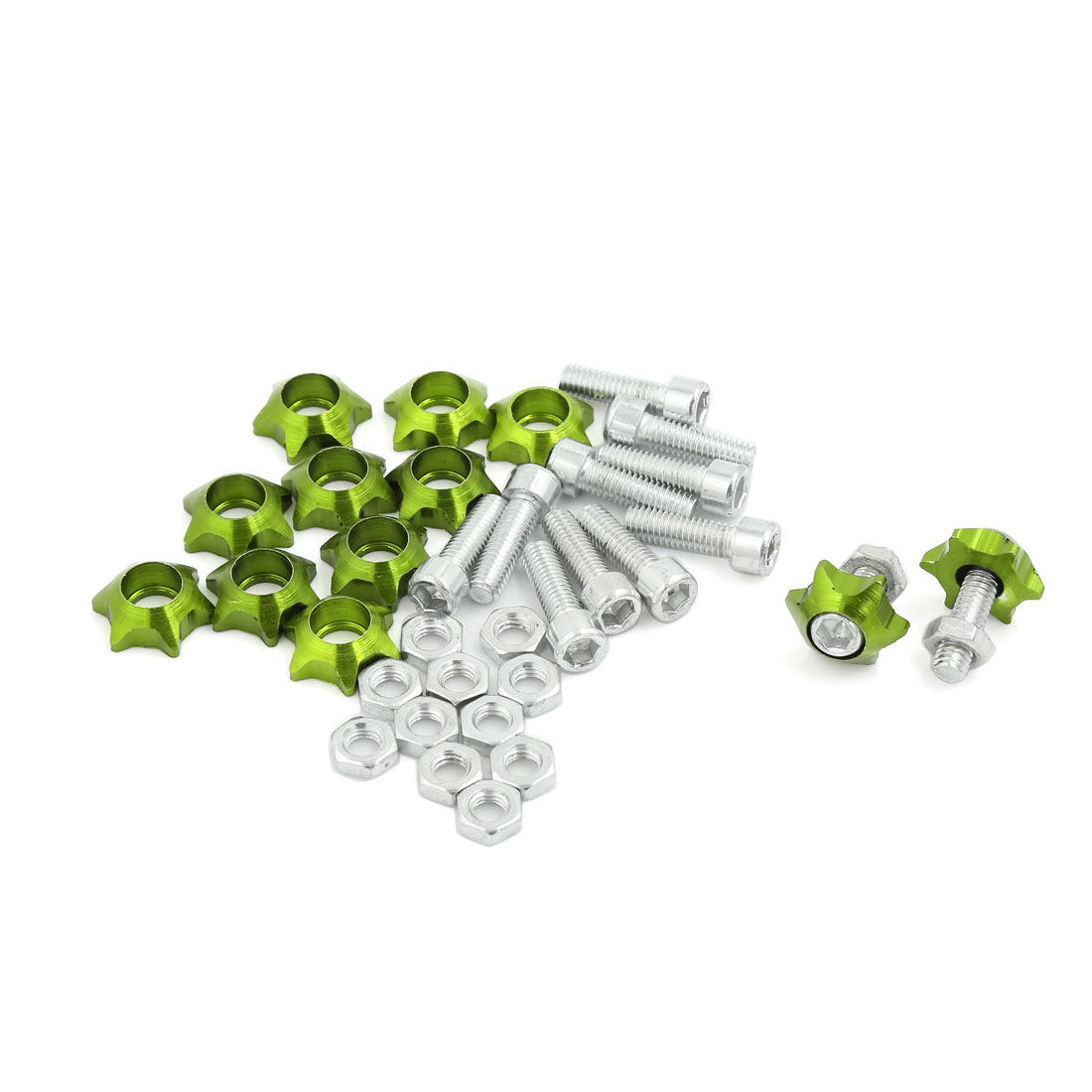 12 Pcs 6mm Thread Diameter Metal Bolts Screw Green for Car License Number Plate