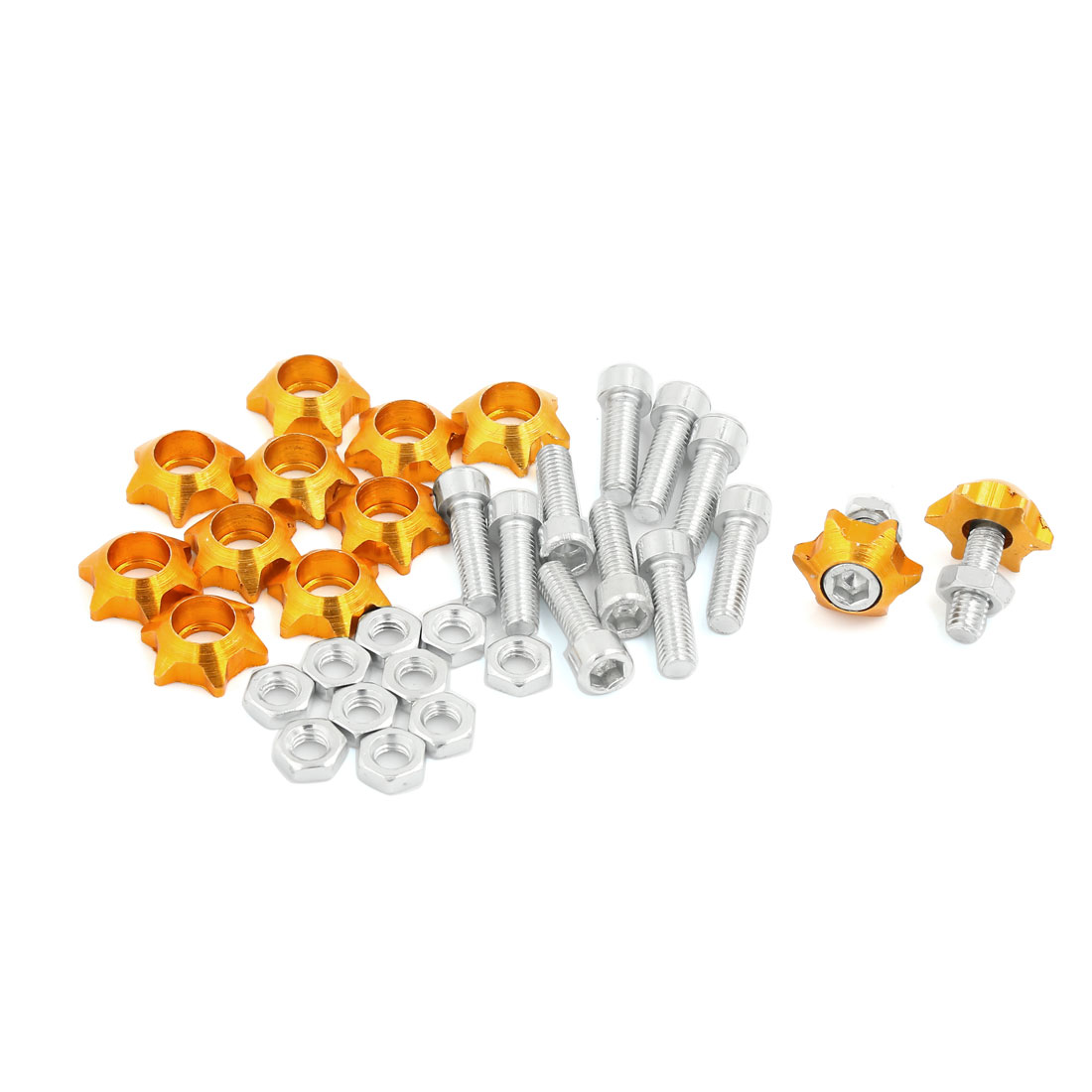 12 Pcs Yellow Metal Star Shaped Bolts Screw Decor for Car License Number Plate