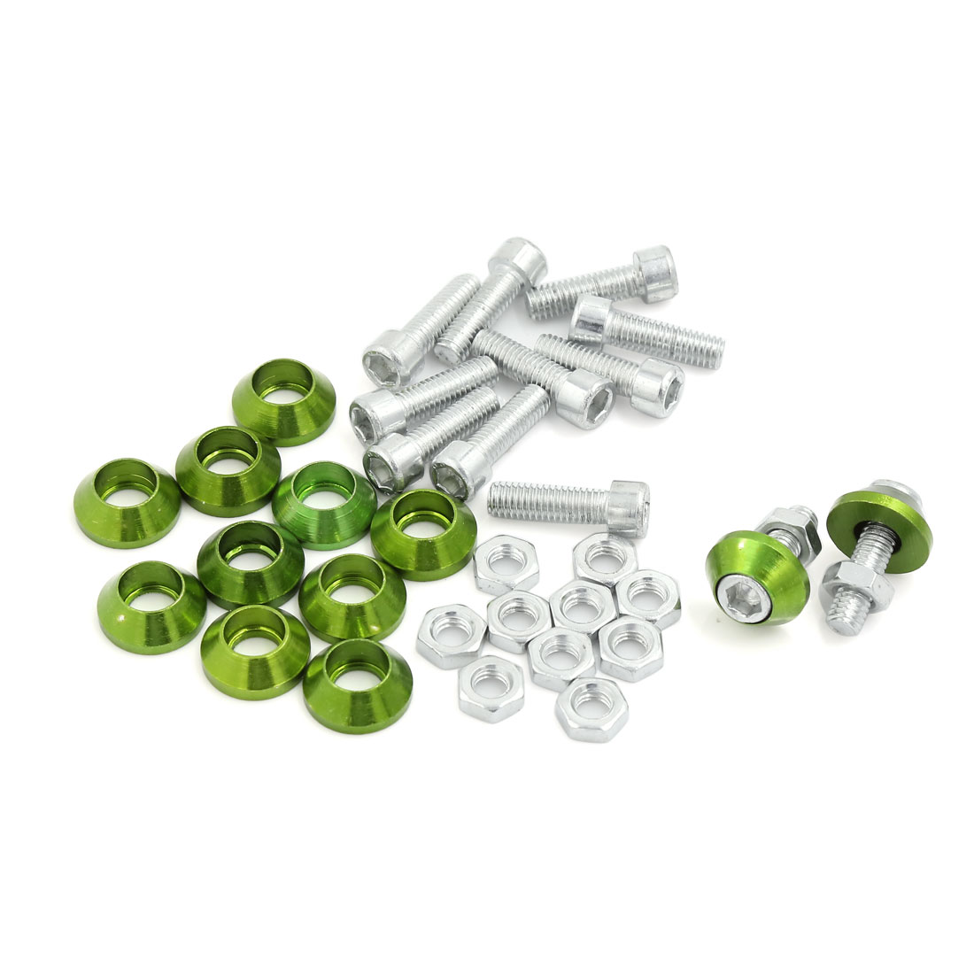 12 Pcs Green Cone Style License Number Plate Bolt Screw 6mm Thread Dia for Car