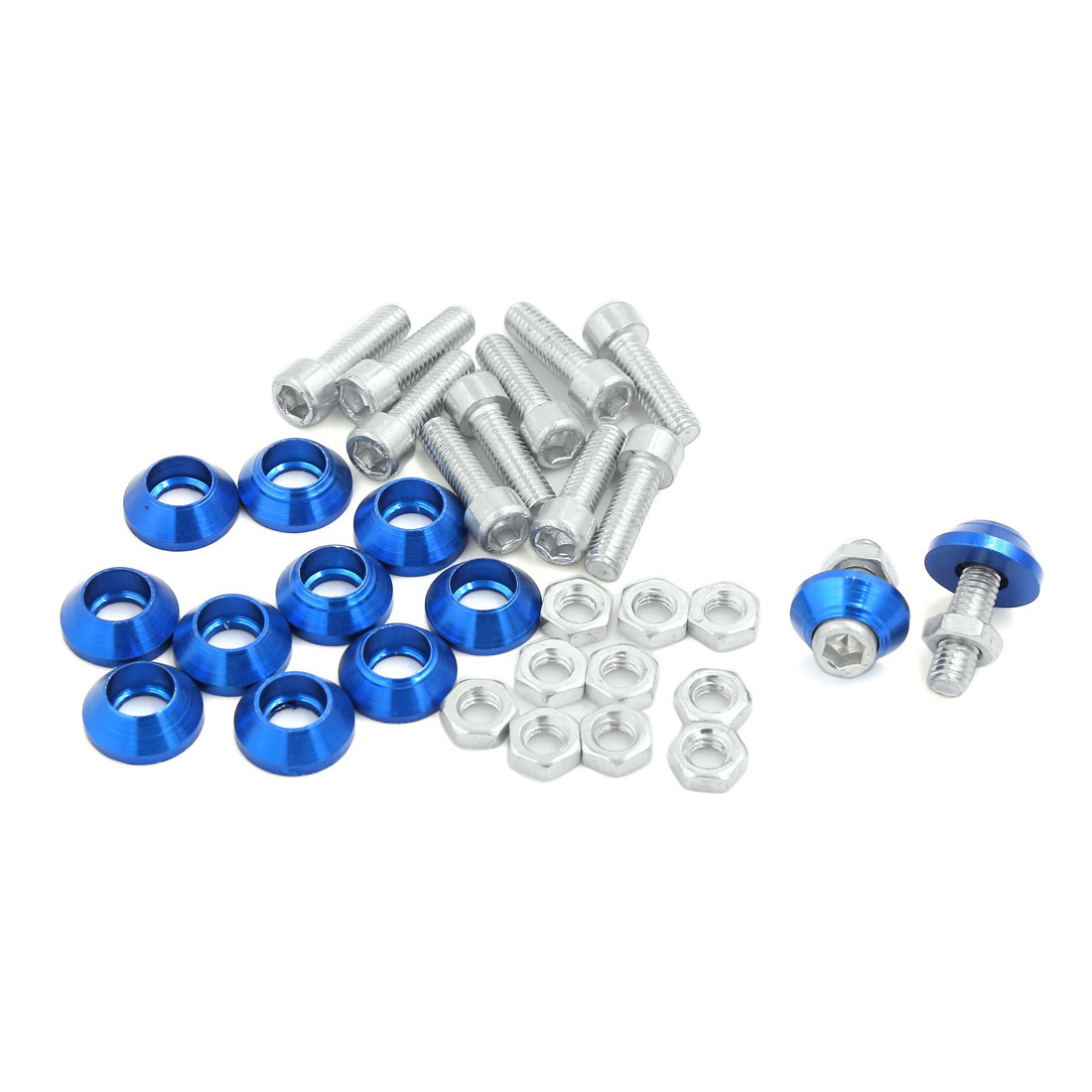 12 Pcs Blue Cone Shape Cap Car Motorcycle License Plate Screw Decor 6mm Thread