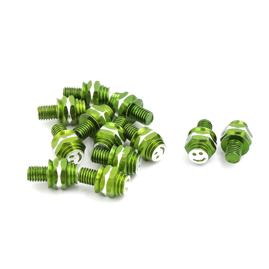 23mm x 7mm Car Motorcycle License Plate Screws Decoration Green 12 Pcs