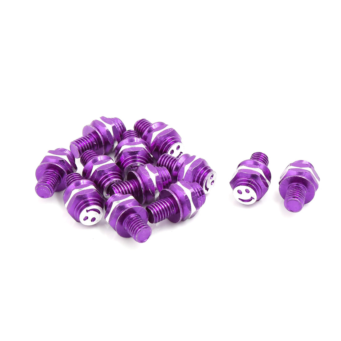 Purple Metal Smile Face Pattern Car Motorcycle License Plate Screw Decor 12 Pcs