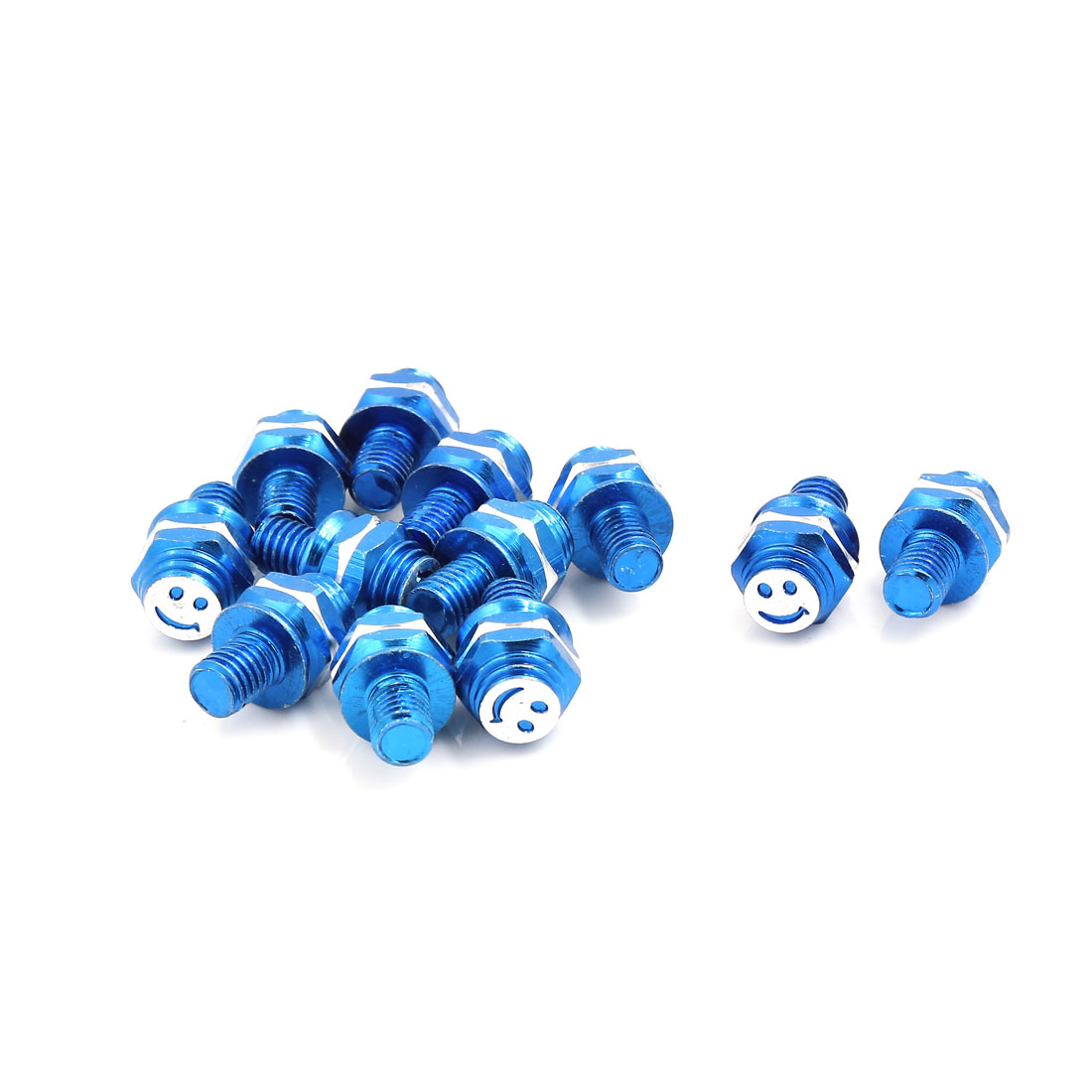 12 Pcs Blue Smiling Face Print License Plate Mounting Screw Decor 7mm Thread Dia