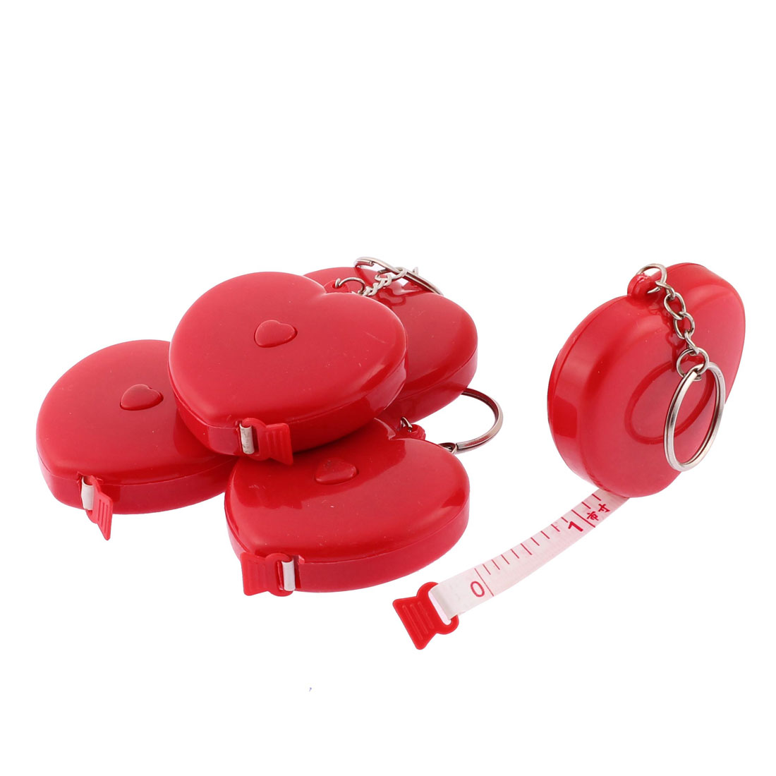 Dressmaker Plastic Shell Heart Style Retractable Measuring Tape Ruler Red 1.5 M 5pcs