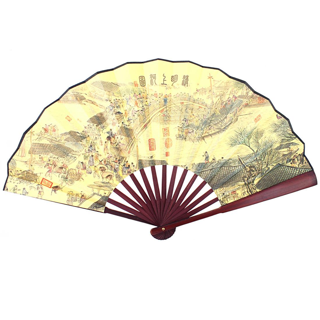 Chinese Style Bamboo Handle Fabric Riverside Scroll Print Foldable Hand Fan w Box