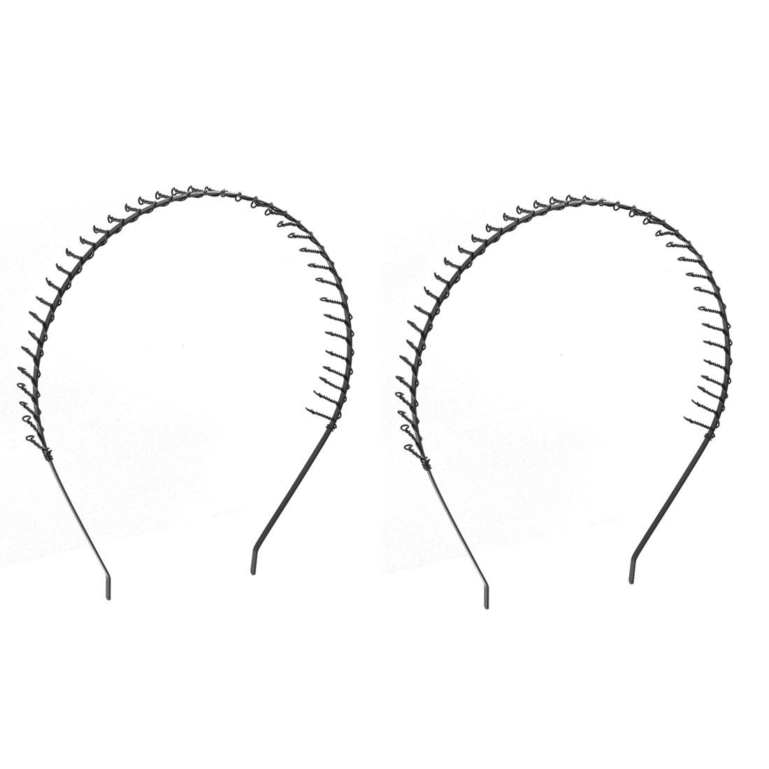 Ladies Metal Spring Tooth Style Flexible Hair Hoop Headband Black 2 Pcs