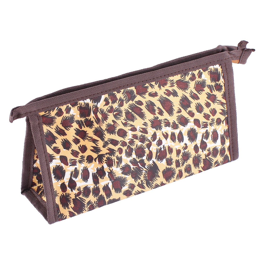 Woman Leopard Printed Zip Closure Rectangular Shaped Makeup Cosmetic Holder Bag