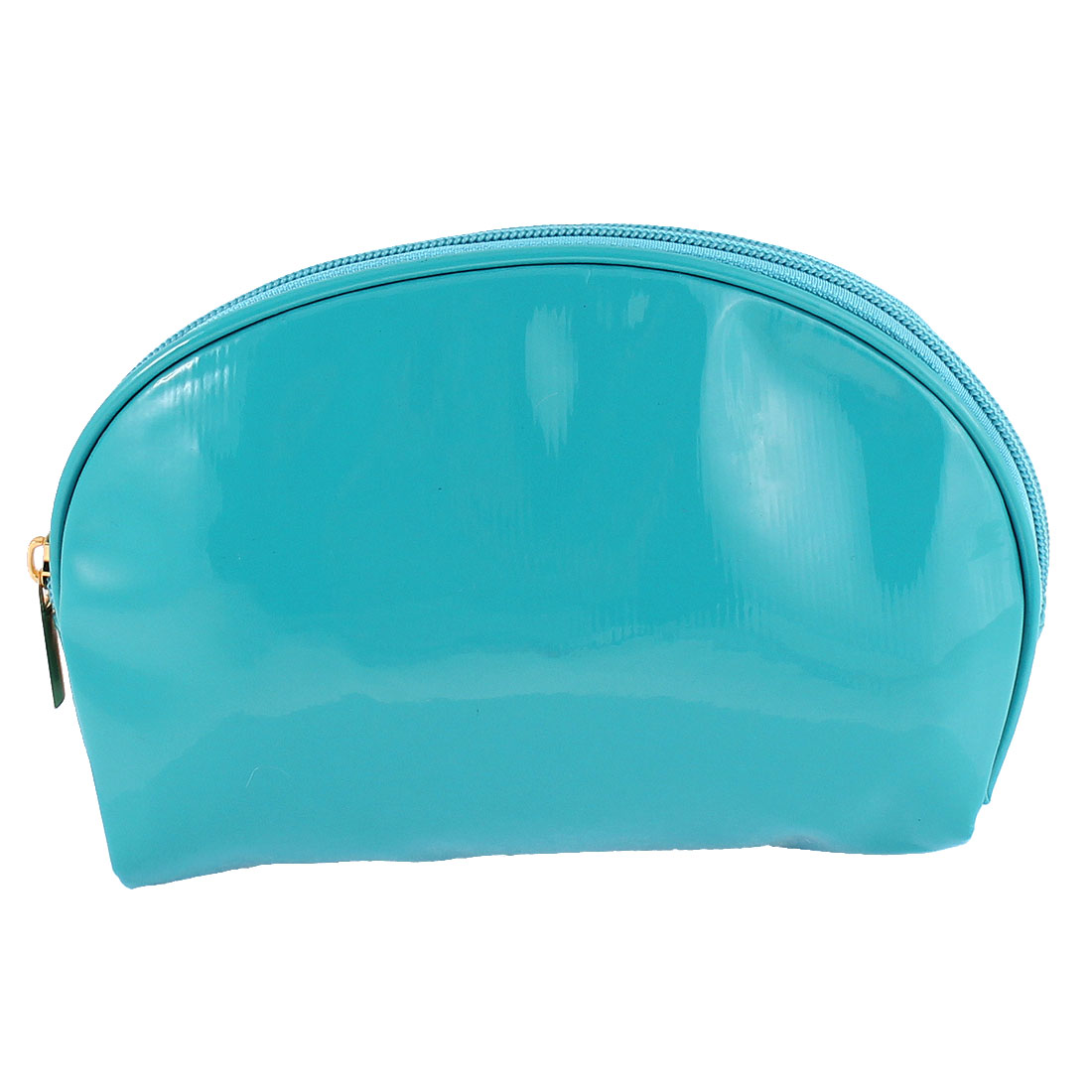 Oval Shaped Zip Up Water Resistant Makeup Cosmetic Holder Bag Teal Blue