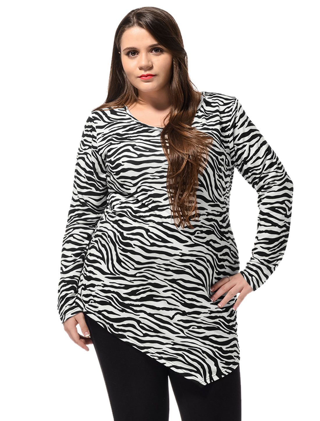 Women Plus Size Zebra Print Irregular Hem Long Sleeves Top Off White 3X