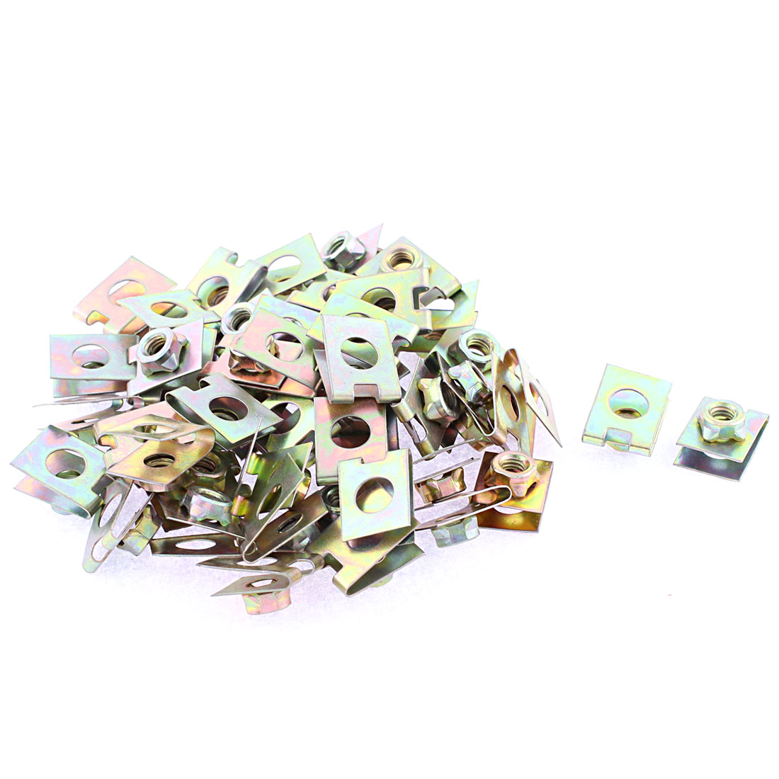 50 Pcs 22mm x 16mm Metal Plate U-Type Clips Speed Nuts for Car Panel Fender