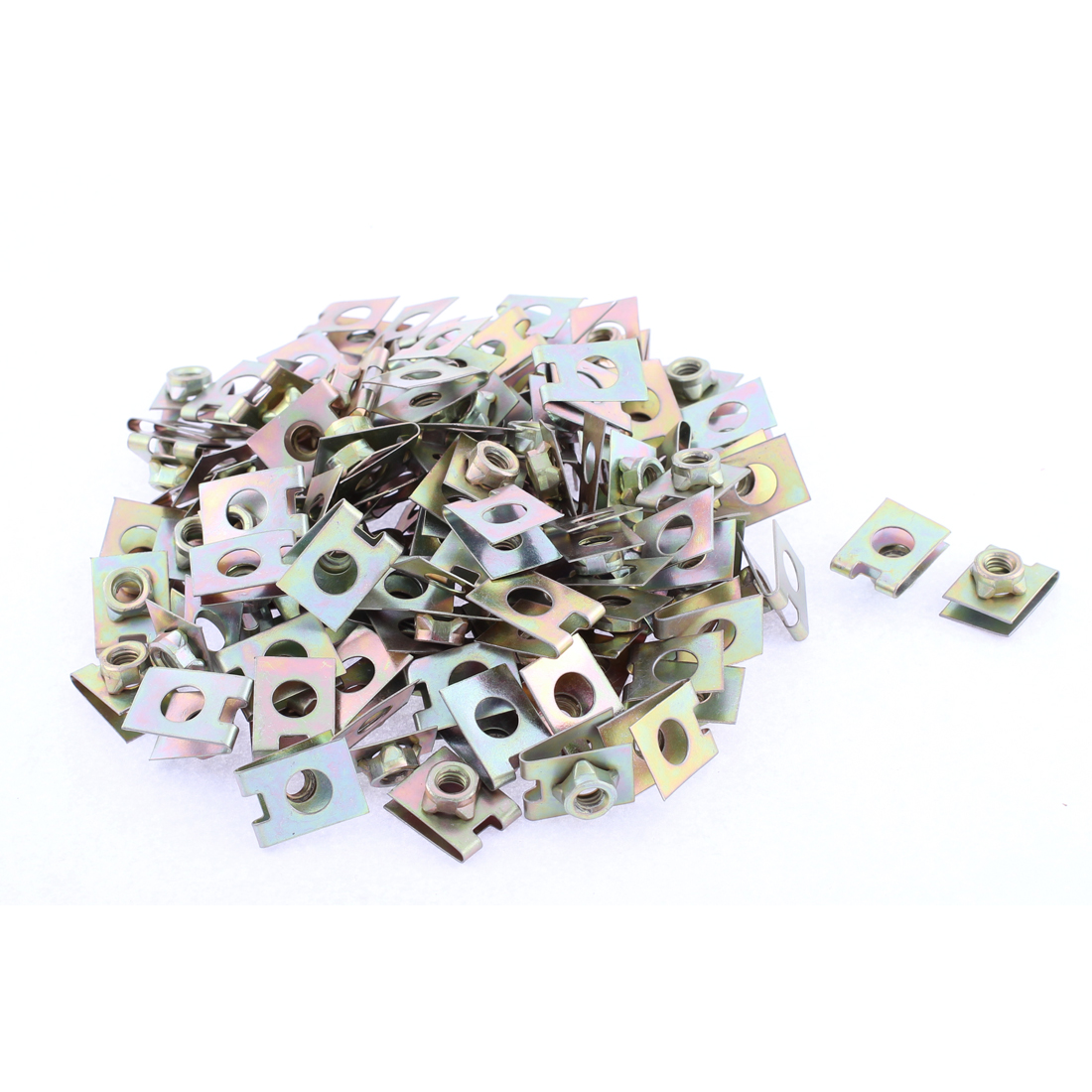 100 Pcs 22mm x 16mm Metal Plate U-Type Clips Speed Nuts for Car Panel Fender