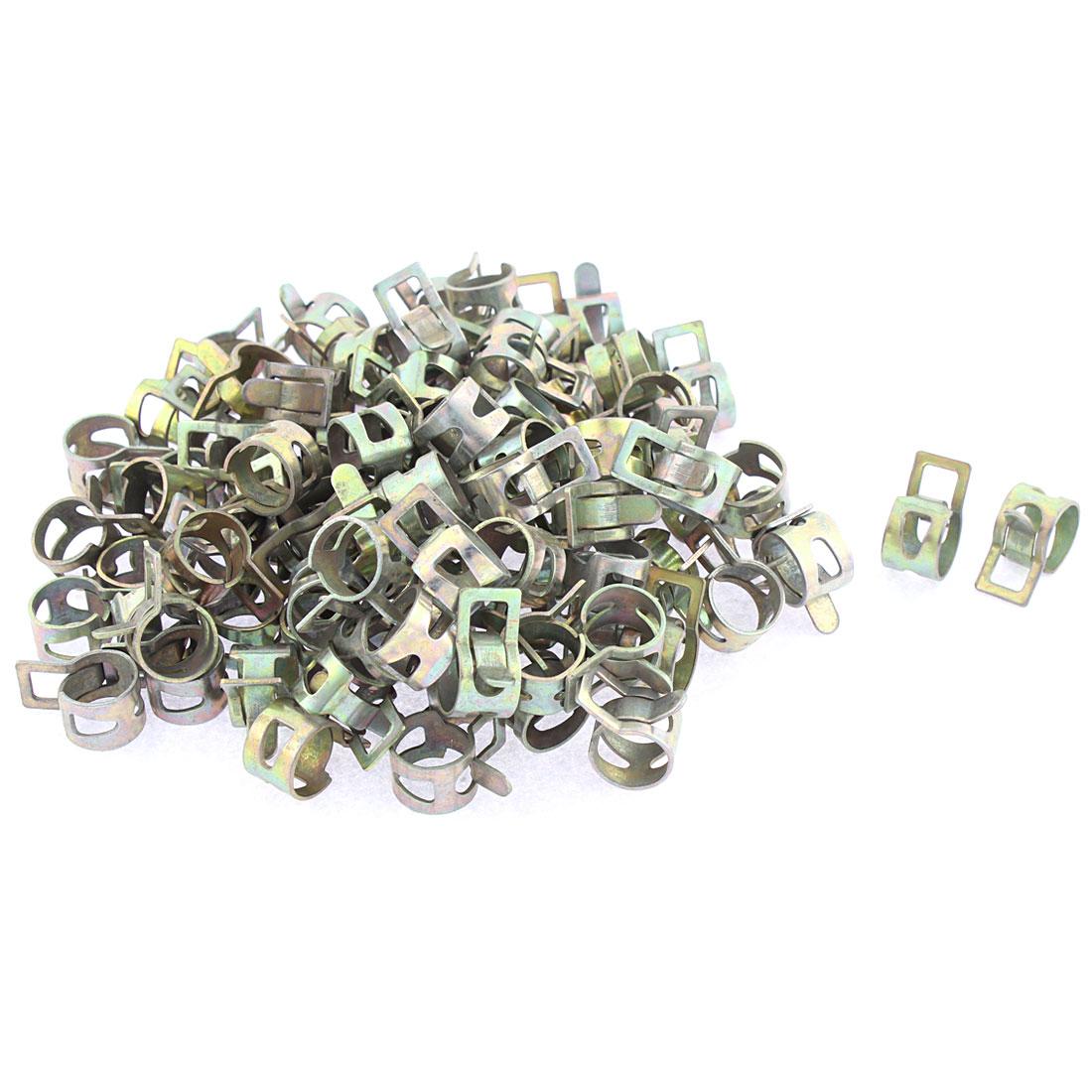 100 Pcs Bronze Tone 14mm Dia Vacuum Spring Hose Clip Clamp
