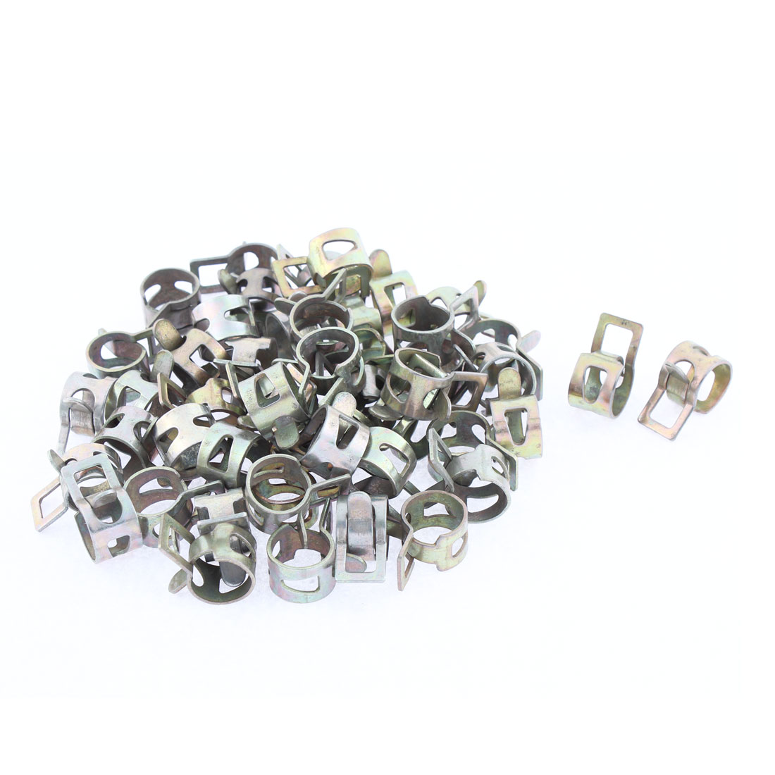 50Pcs Bronze Tone 14mm Dia Breather Overflow Pipe Metal Clips Clamp