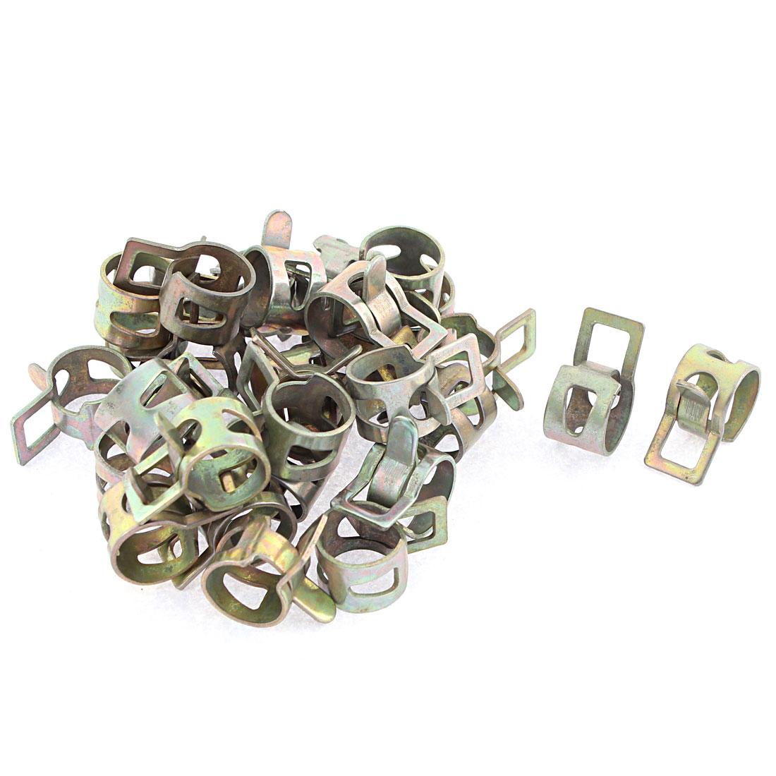 30 Pcs Bronze Tone 14mm Dia Vacuum Spring Hose Clip Clamp