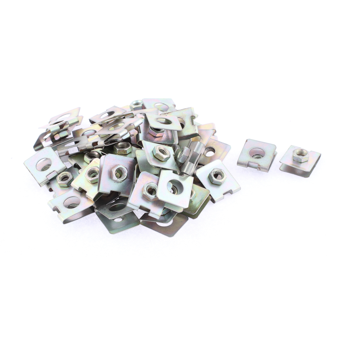 50 Pcs 23mm x 20mm Metal Plate U-Type Clips Speed Nuts for Car Panel Fender