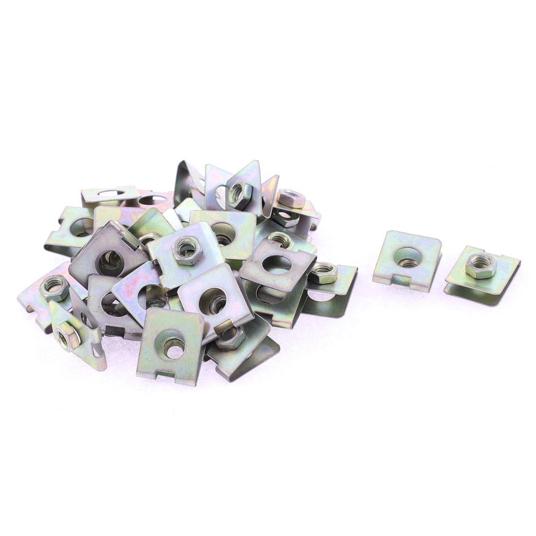 30 Pcs 23mm x 20mm Metal Plate U-Type Clips Speed Nuts for Car Panel Fender