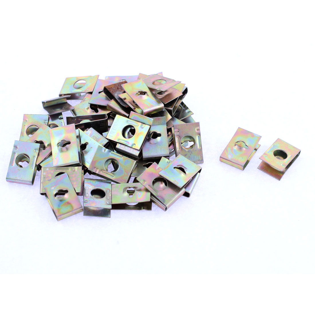 50 Pcs Bronze Tone Spring Metal Car Panel Fender Spire Screw U-Type Clips 17.7mm x 11mm