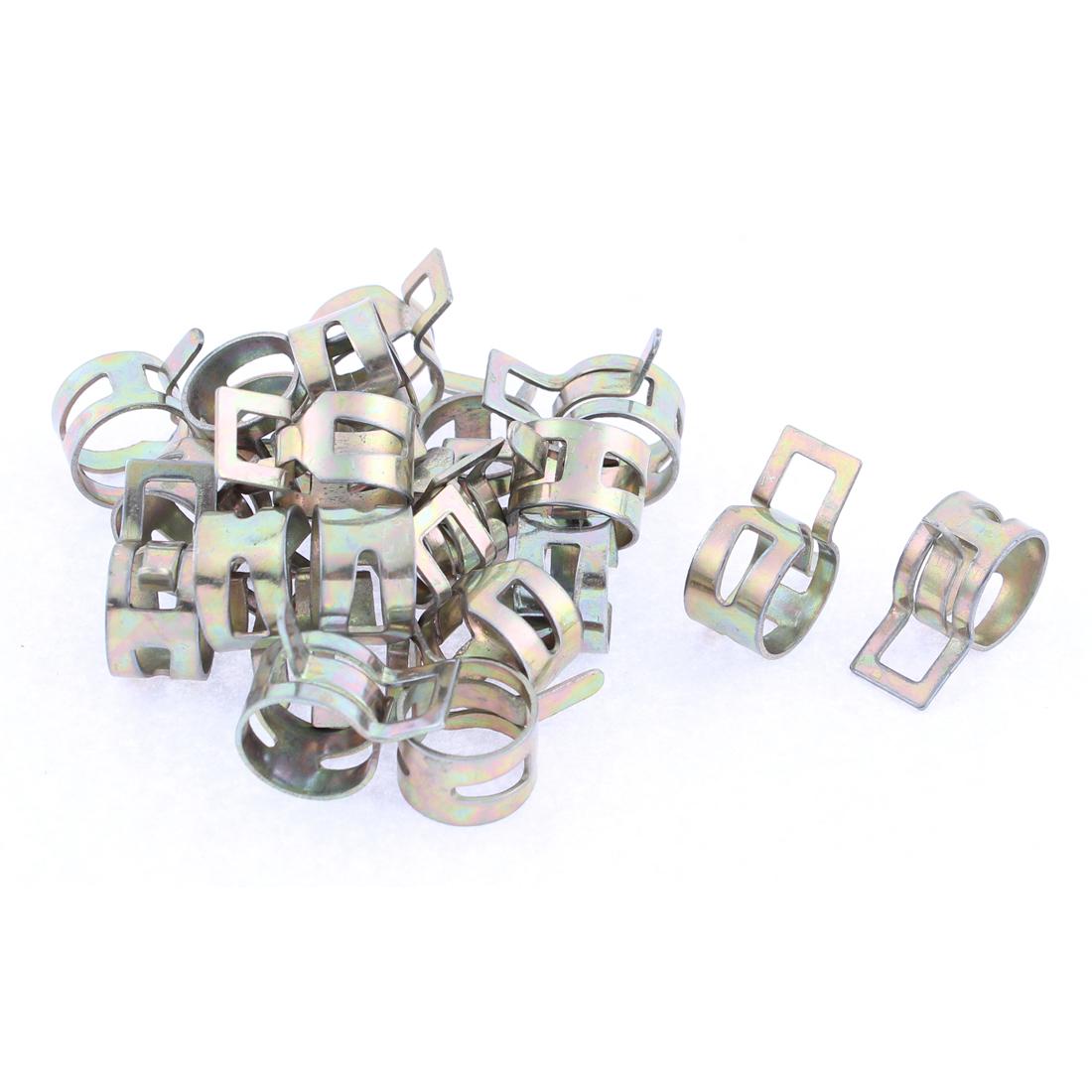 20 Pcs Bronze Tone 13mm Dia Vacuum Spring Hose Clip Clamp