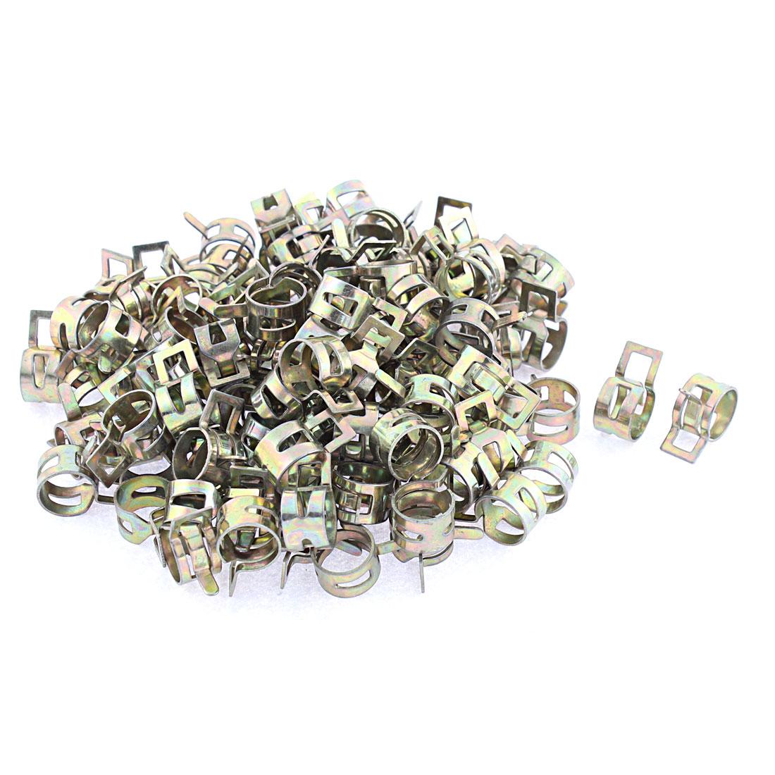 100 Pcs Bronze Tone 13mm Dia Vacuum Spring Hose Clip Clamp