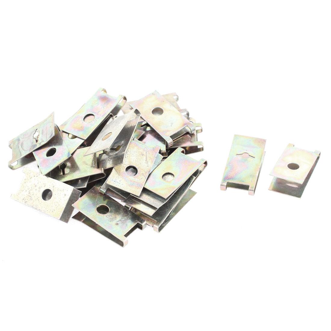 30 Pcs Bronze Tone Spring Metal Car Door Panel Spire Screw U-Type Clips 30mm x 15mm