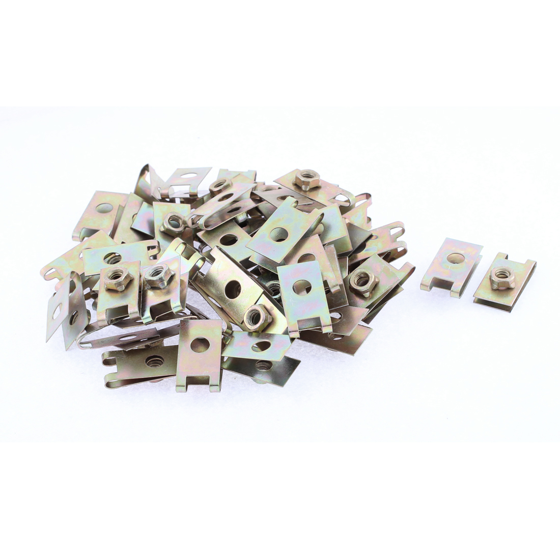 50 Pcs 32mm x 17.2mm Metal Plate U-Type Clips Speed Nuts for Car Panel Fender