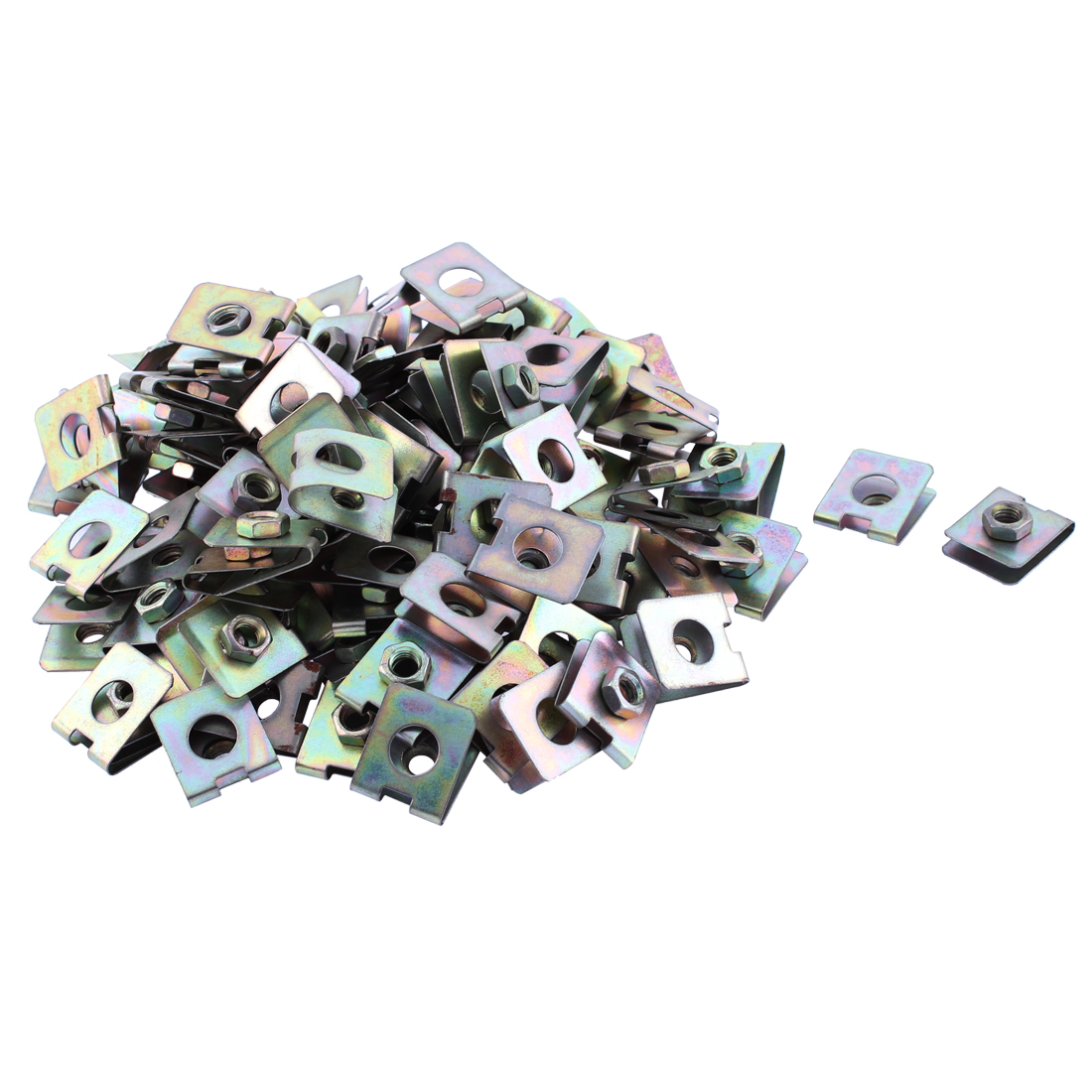 100 Pcs 23mm x 20mm Metal Plate U-Type Clips Speed Nuts for Car Panel Fender
