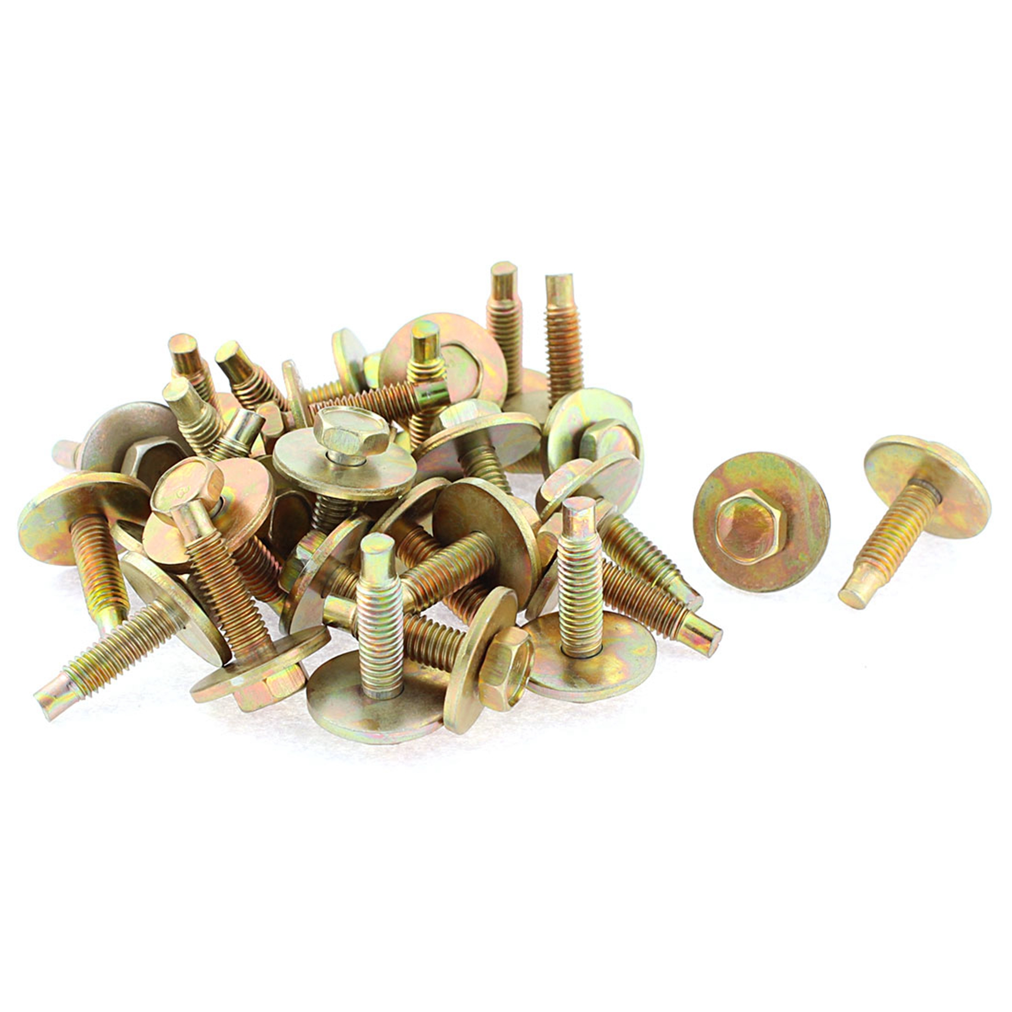 30Pcs Bronze Tone Auto Metal Screw Body Fender Retainer Clips