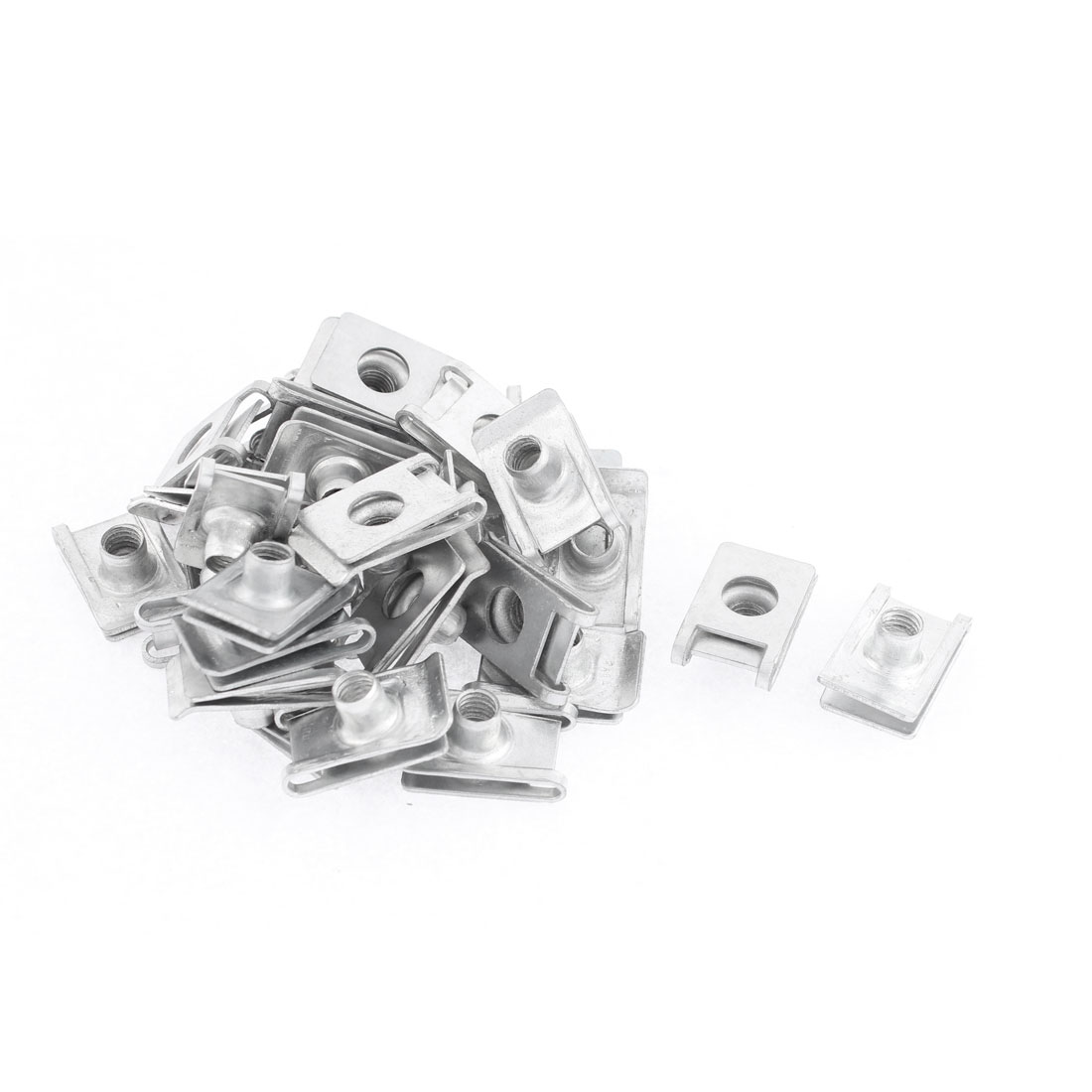40Pcs Silver Tone Metal Car Door Dashboard Screw U-Type Clips