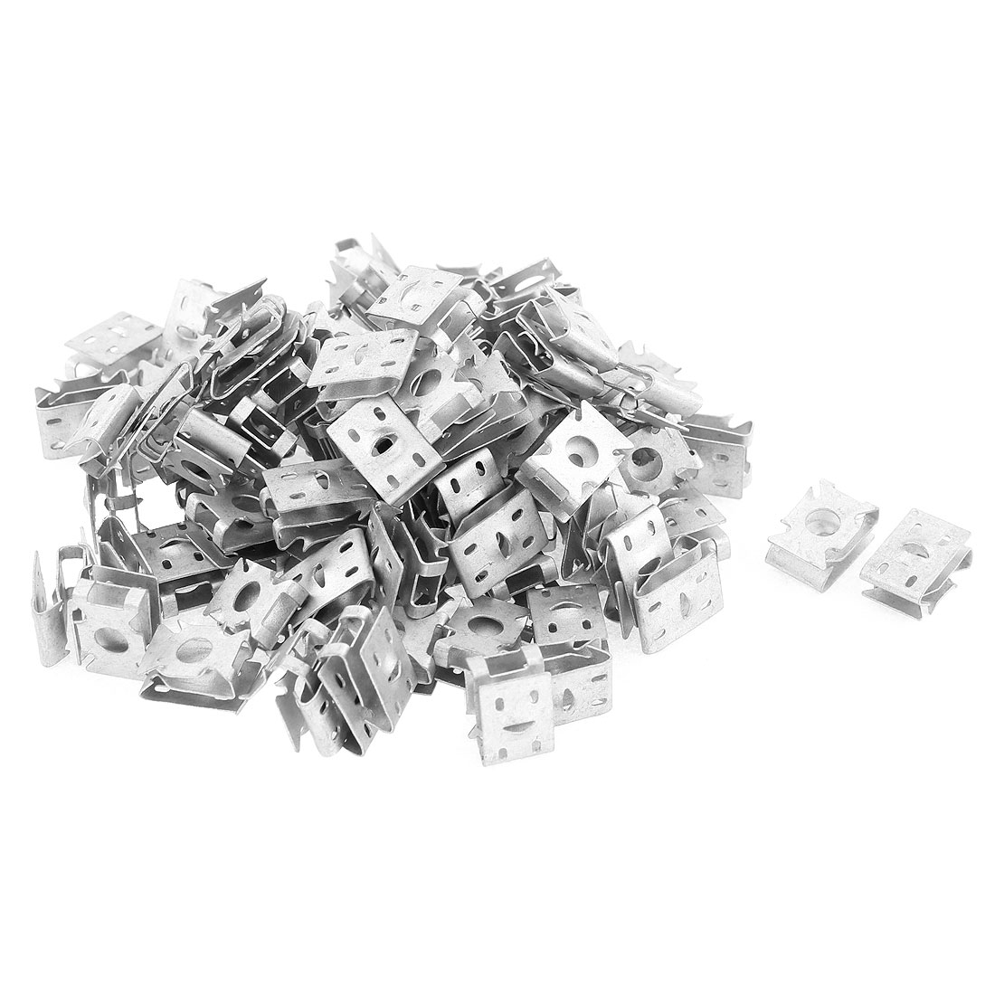 100Pcs Silver Tone Car Dash License Plate Metal Retainer Clips