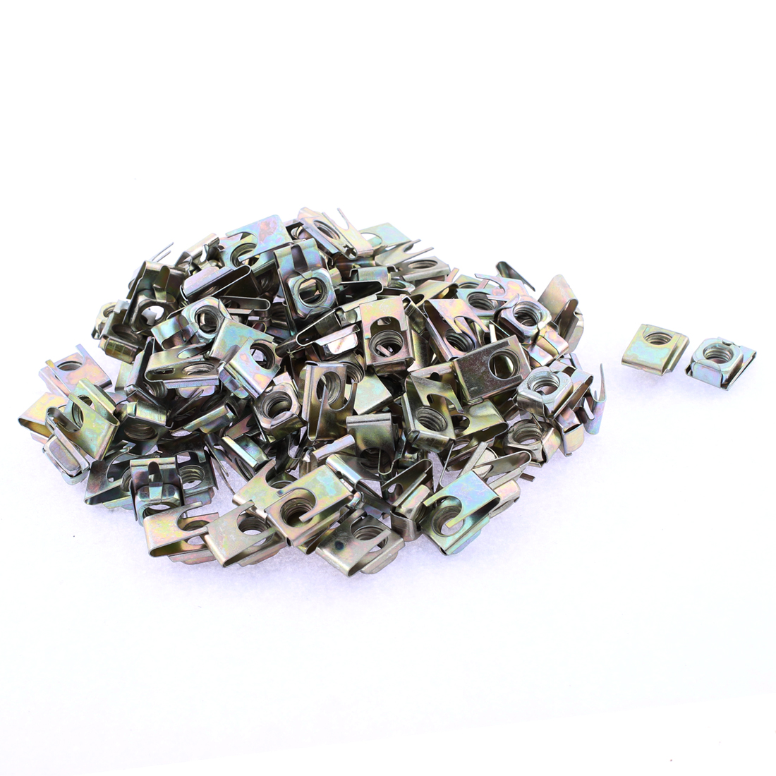 100 Pcs 22mm x 16mm Metal Plate U-Type Clips Speed Nuts for Auto Panel Fender