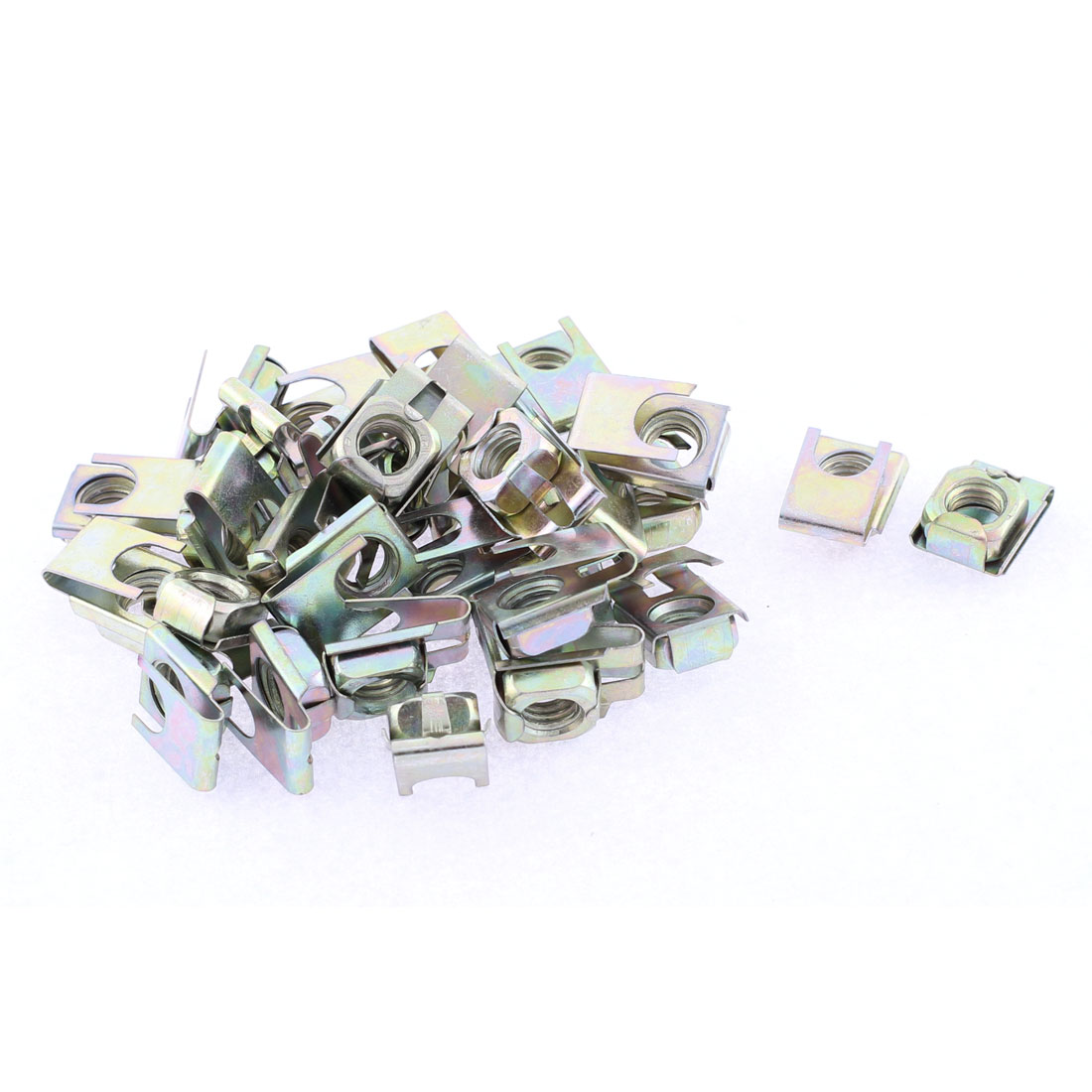 30 Pcs 22mm x 16mm Metal Plate U-Type Clips Speed Nuts for Auto Panel Fender