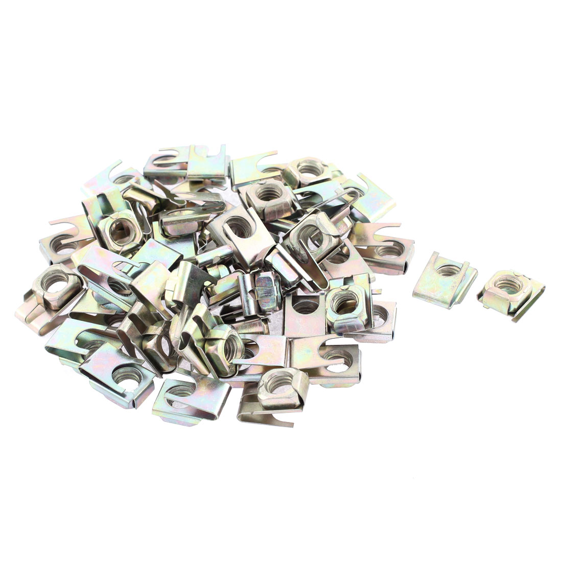 50 Pcs 22mm x 16mm Metal Plate U-Type Clips Speed Nuts for Auto Panel Fender