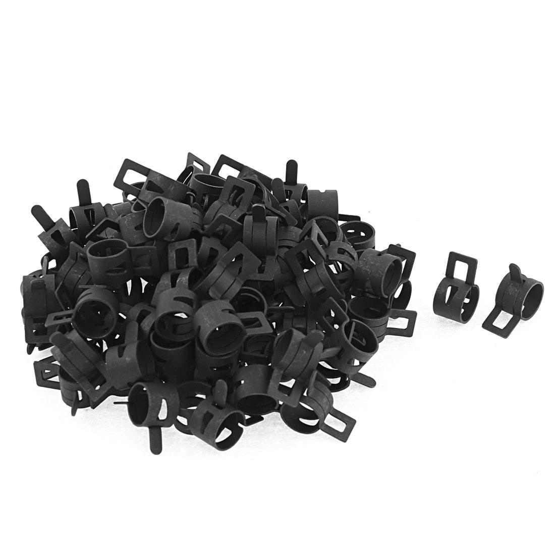 100 Pcs Black Fuel Oil Hose Metal Spring Clip Clamps