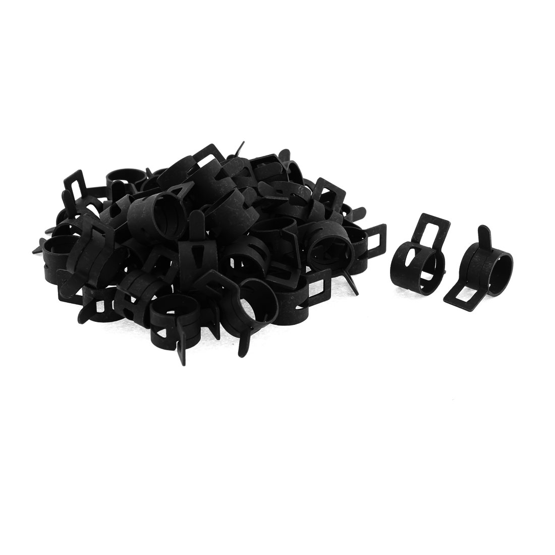 50 Pcs Black Vacuum Fuel Oil Hose Metal Spring Clamps