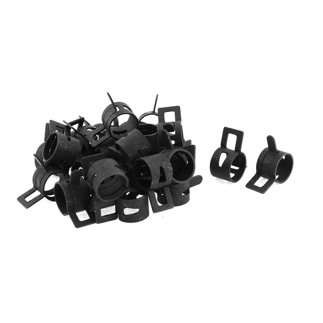 30 Pcs Black Fuel Oil Hose Metal Spring Clip Clamps