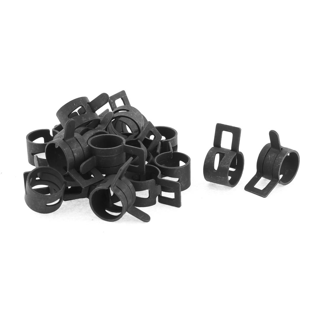 20 Pcs Black Vacuum Fuel Oil Hose Metal Spring Clip Clamps