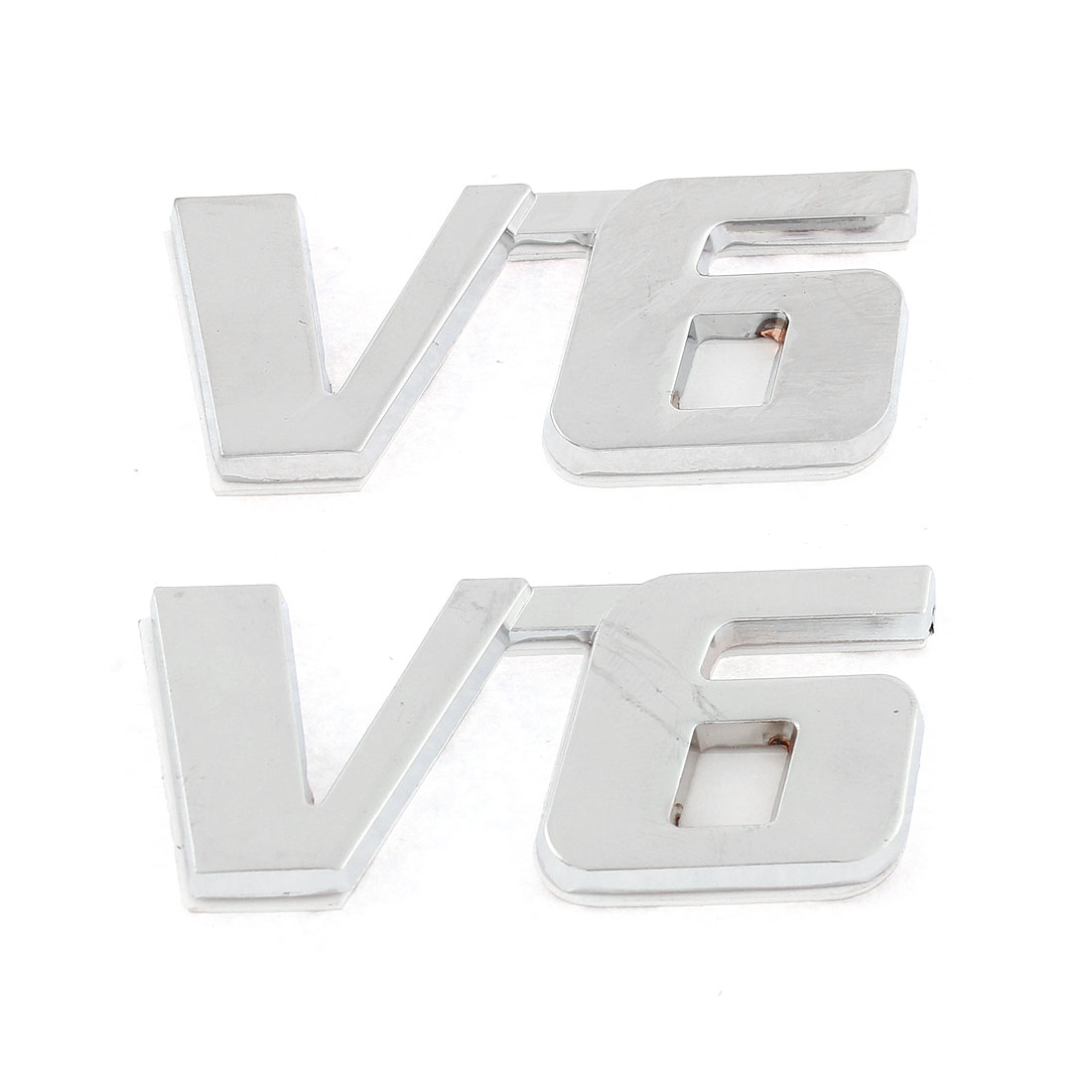 Polish Chrome V6 Fender Bumper Sticker Metal Emblem Decal Symbol Trim Badge 2 Pcs