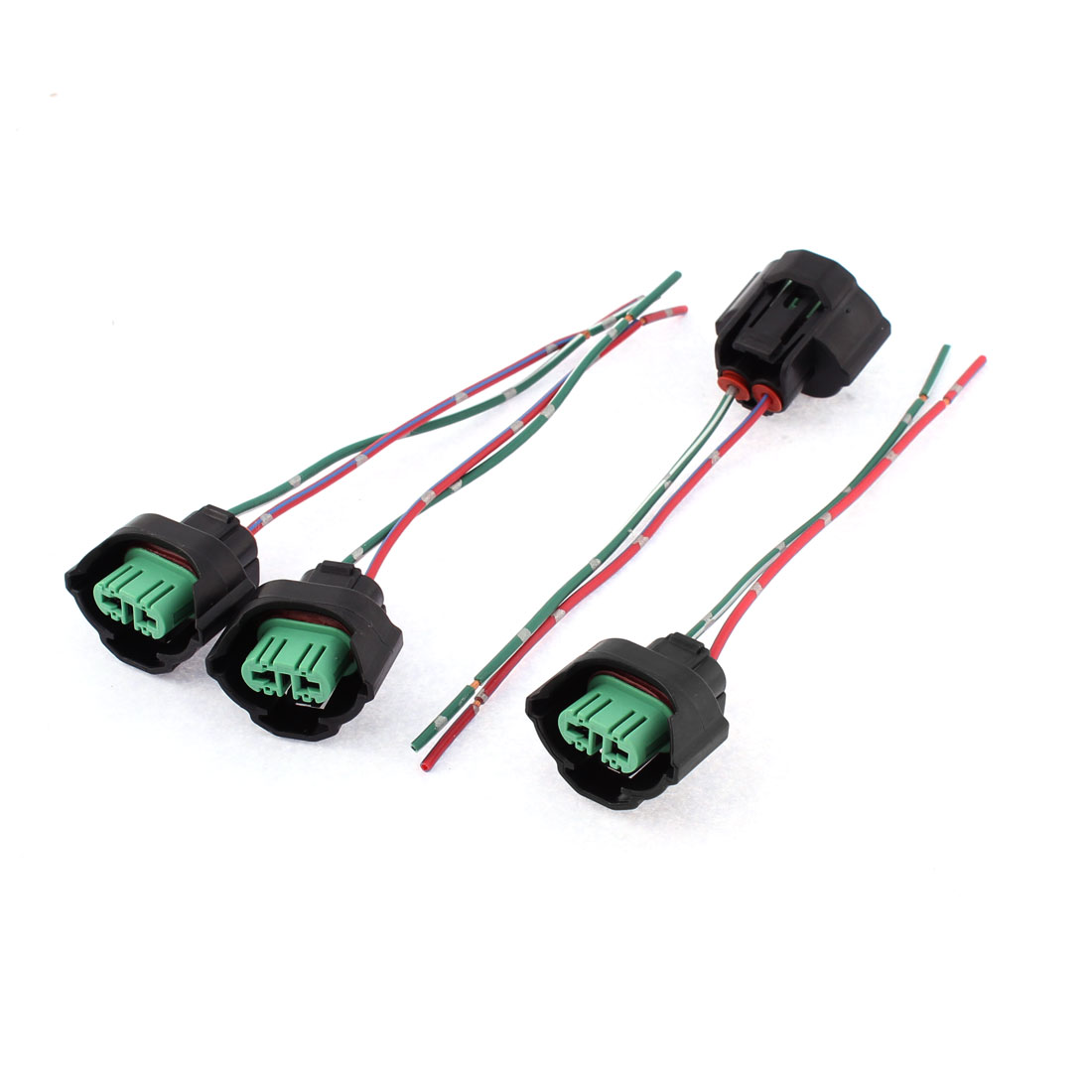 4 Pcs Wire Harness Headlight H9 Sockets Lamp Light Holder Green Black