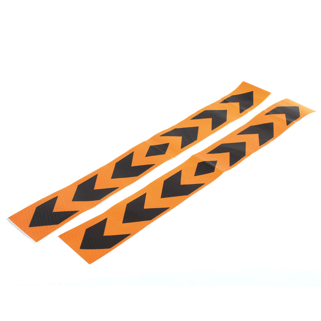4 Pcs Black Orange Plastic Arrow Pattern Reflective Car Sticker Decal