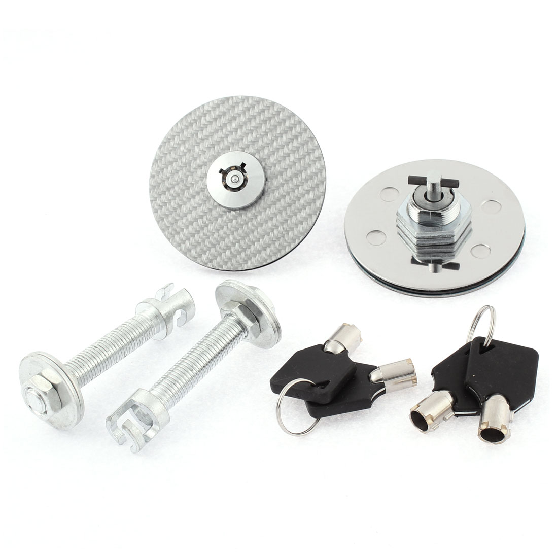 Front Hood Pin Key Locking Racing Mount Bonnet Kit Silver Tone