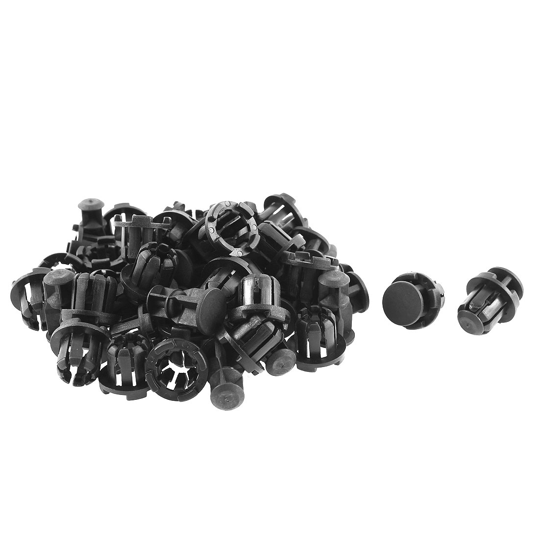 30 Pcs 21mm x 15mm Black Plastic Rivet Bumper Lining Trim Panel Retainer Fastener Clips
