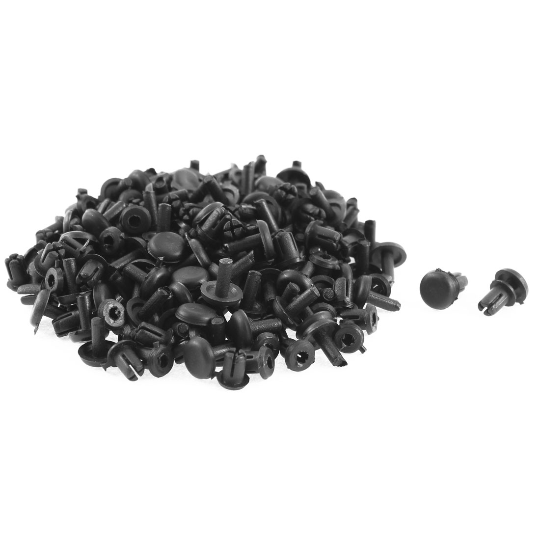 100Pcs 5mm Hole Black Plastic Bumper Lining Retainer Fastener Rivet