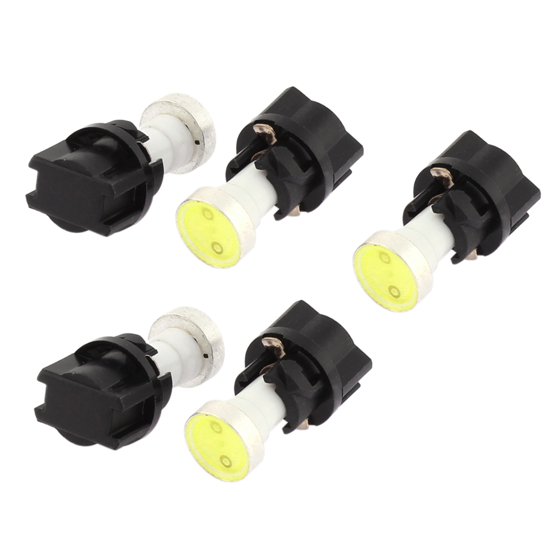Car T5 COB 1-LED Panel Instrument Lights Indicator Side Lamps White 5 Pcs Interior