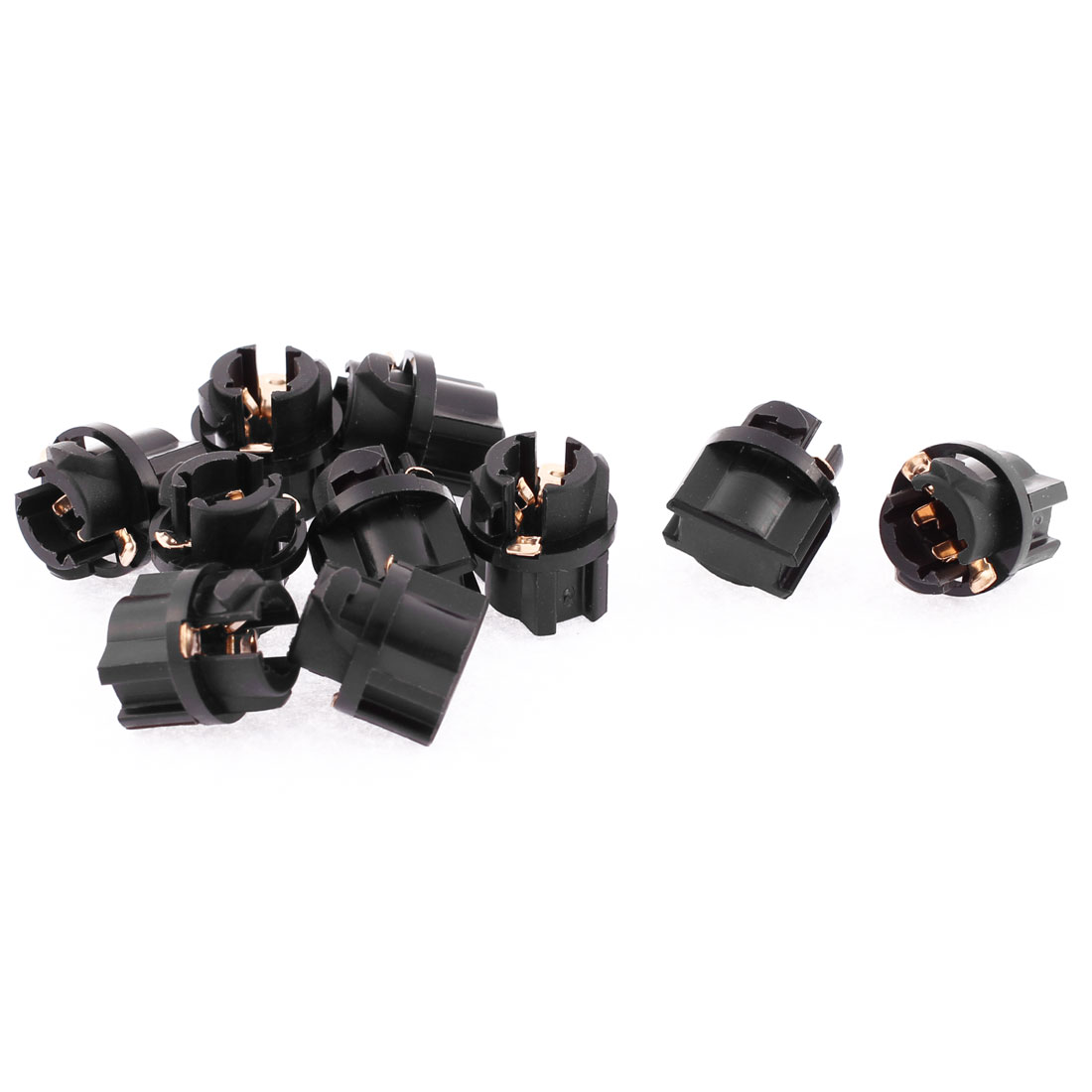 10 Pcs T5 Dashboard Gauge Light Lamp Bulb Socket Holder Black for Automobile