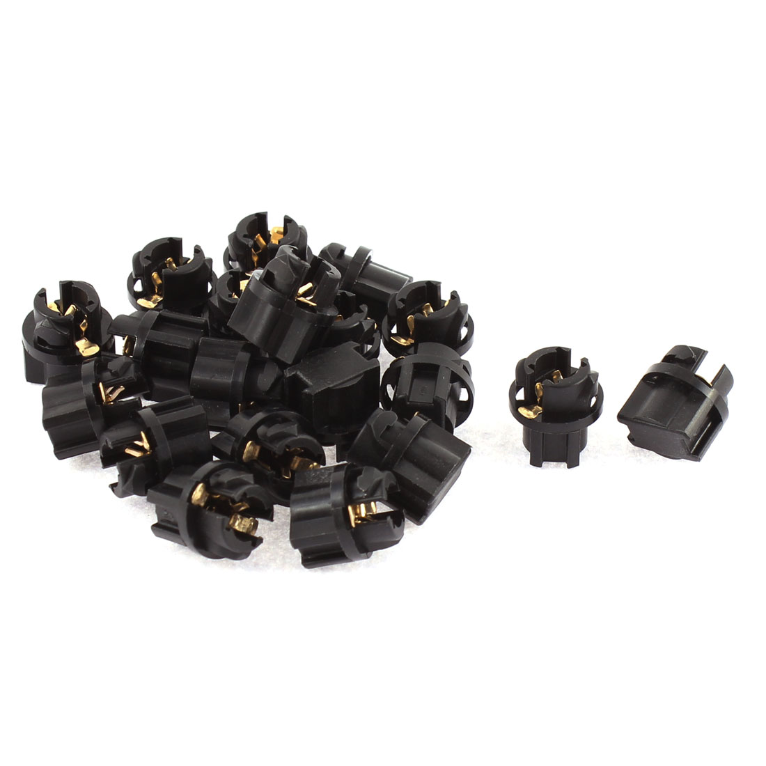 20 Pcs T5 Dashboard Gauge Light Lamp Bulb Socket Holder Black for Automobile