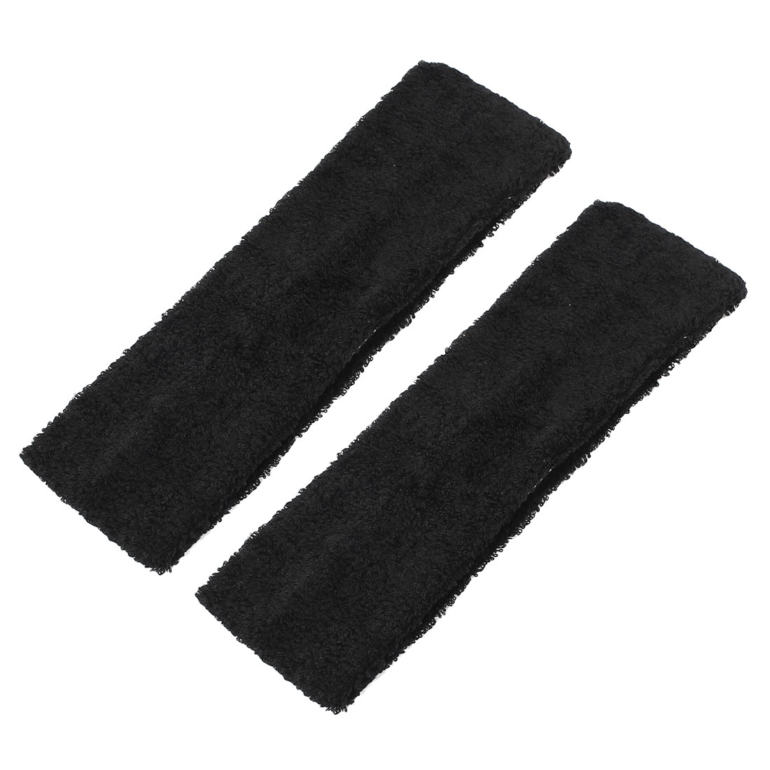 Women Sports Yoga Dancing Elastic Sweatband Headband Headwrap Hair Band Black 6cm 2pcs