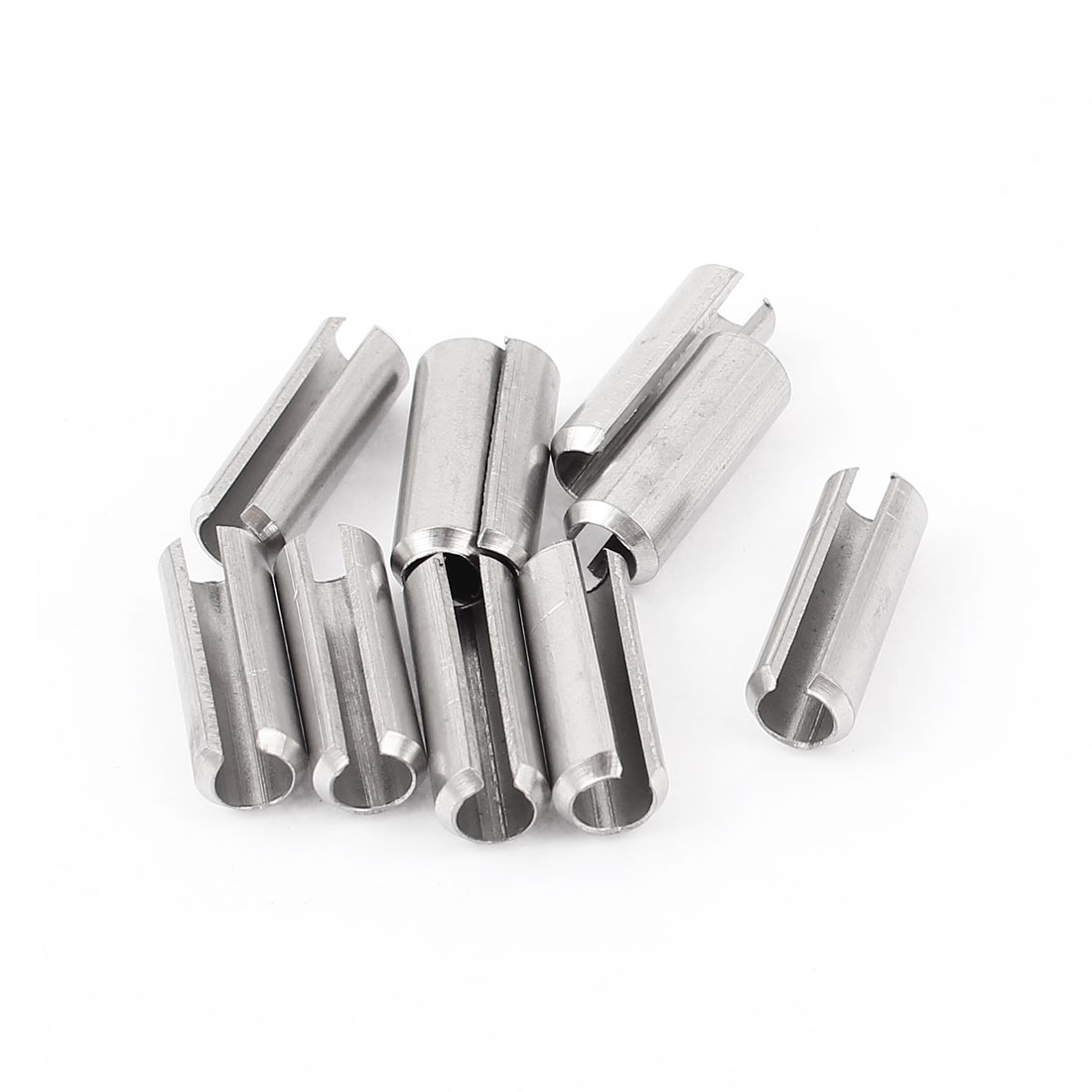 10 Pcs M8 x 25mm Silver Tone 304 Stainless Steel Split Spring Dowel Tension Roll Cotter Pin Fasteners