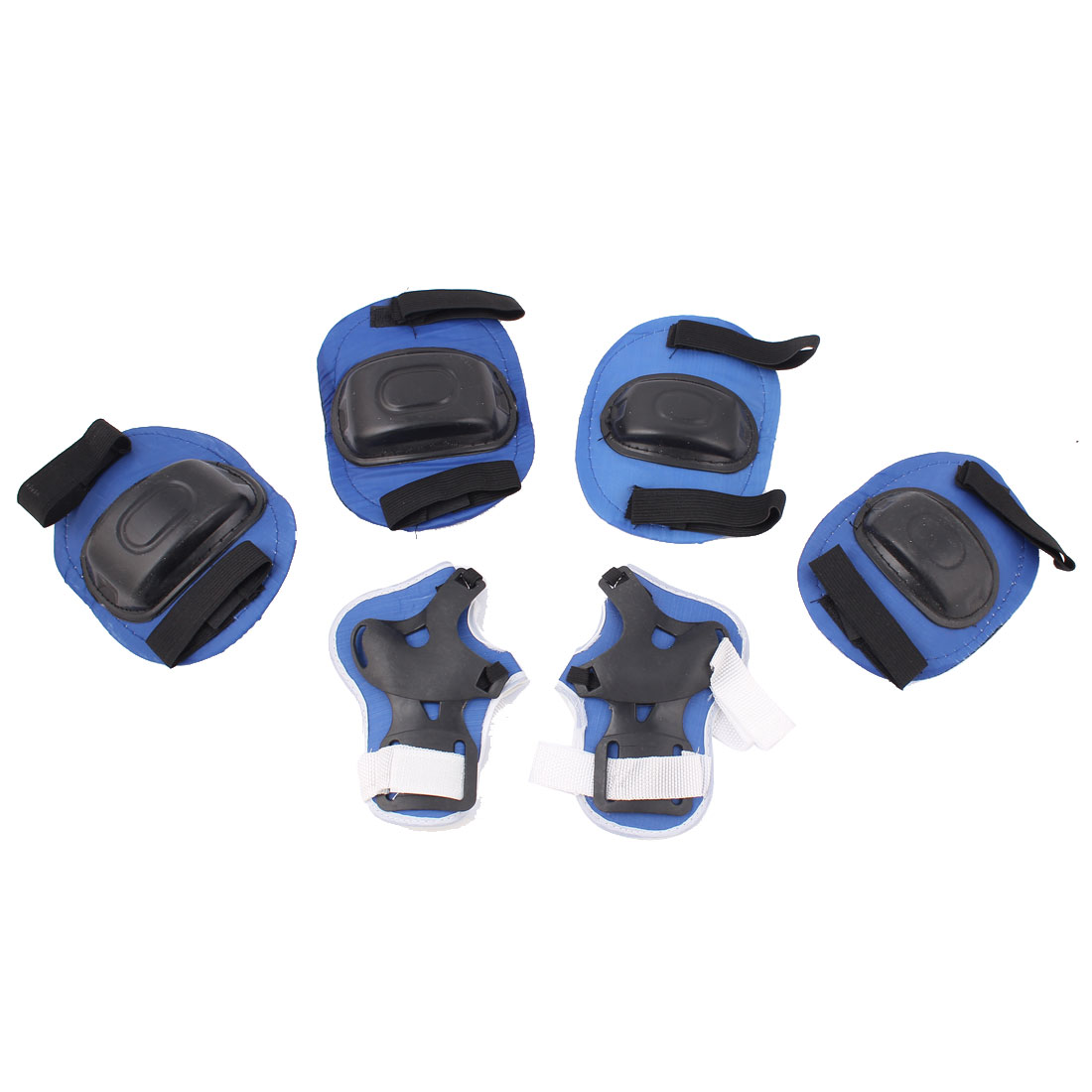 6 in 1 Skiing Skating Cycling Black Blue Palm Elbow Guard Knee Support Protector Pad Set w String Bag