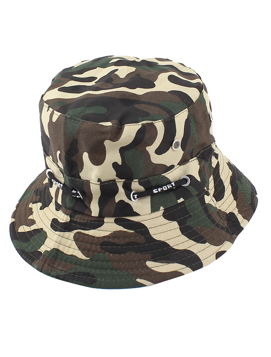 Man Outdoor Hunting Fishing Adjustable Strap Wide Brim Army Green Camouflage Pattern Hat Cap