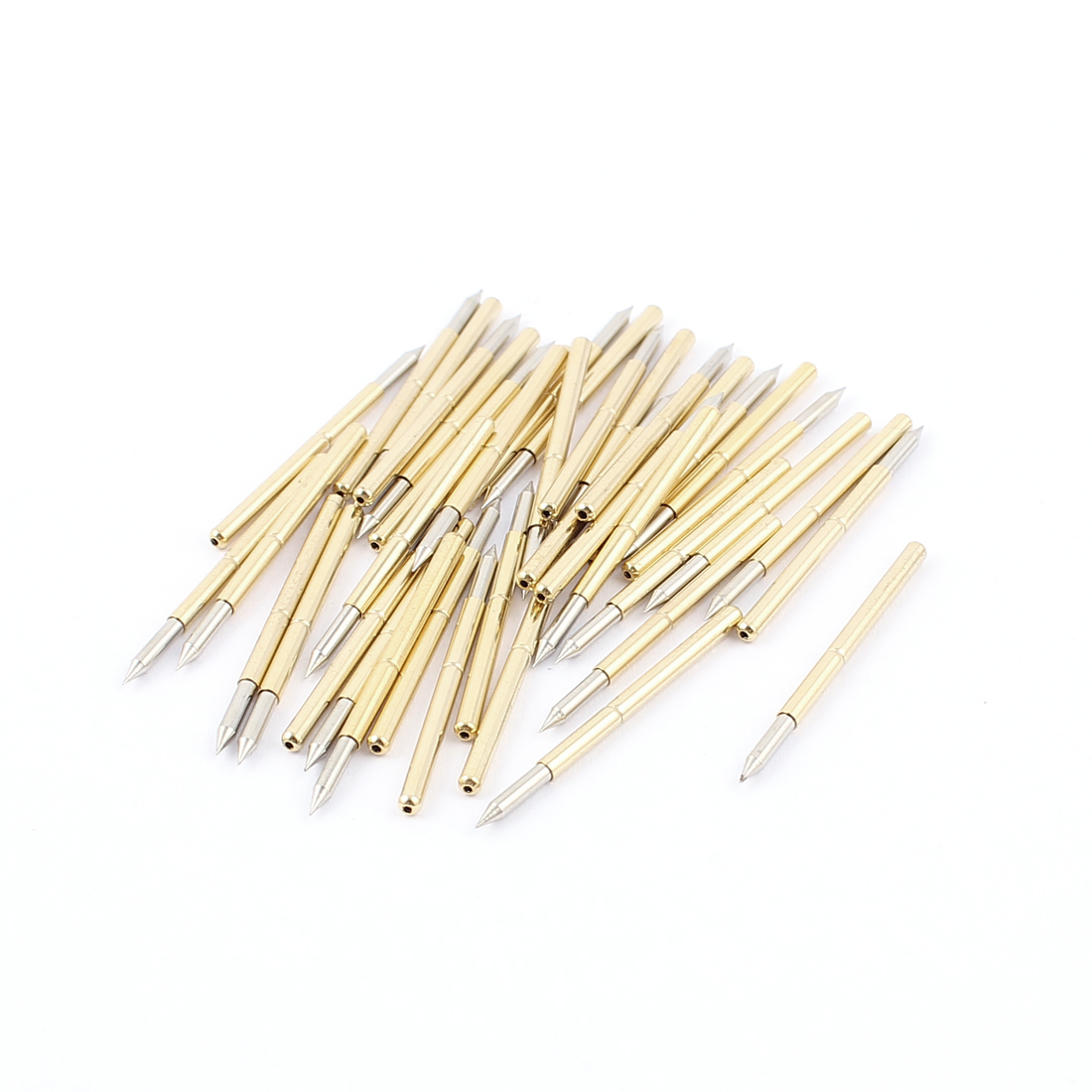 40Pcs P125B 1.6mm Dia Spear Tip 33mm Long Metal Spring Test Probes Testing Pins Gold Tone